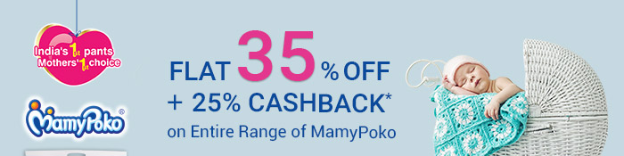 Flat 35% OFF* & 25% Cashback* on Entire MamyPoko Range | Coupon : MPK35CB