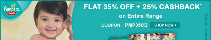 Flat 35% OFF & 25% Cashback* on Entire Pampers Range | Coupon-PMP35CB