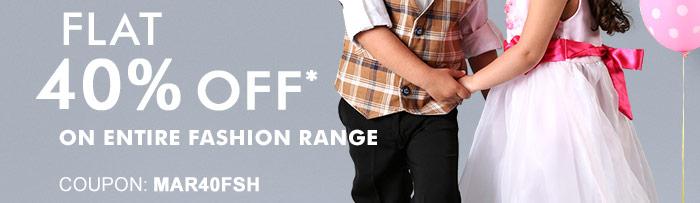 Flat 40% OFF* on Entire Fashion Range  |  Coupon: MAR40FSH
