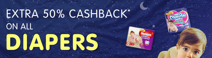 Extra 50% Cashback* on All Diapers
