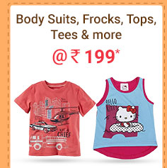Body Suits, Frocks, Tops, Tees & more @ Rs. 199* | Coupon: M199MAY