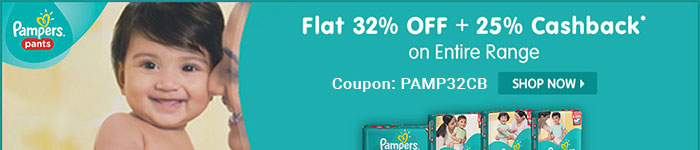 Flat 32% OFF & 25% Cashback* on Entire Pampers Range | Coupon-PAMP32CB