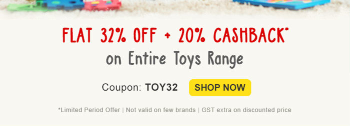 Toys - Flat 32% OFF* & 20% Cashback*