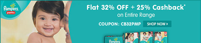 Flat 32% OFF & 25% Cashback* on Entire Pampers Range | Coupon-CB32PMP