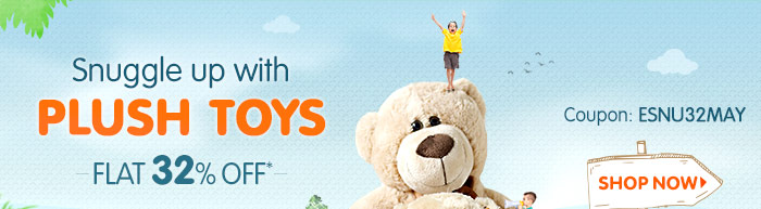 Snuggle up with Plush Toys Flat 32% OFF*