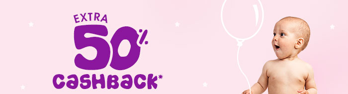 Extra 50% Cashback* on All Diapers | Coupon: DP50MAY