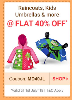 Flat 40% OFF* on Raincoats, Kids Umbrellas & more | Coupon: MD40JL