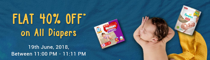 Flat 40% OFF* on All Diapers | COUPON: DIAP40JUNE