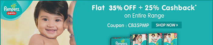 Flat 35% OFF & 25% Cashback* on Entire Pampers Range | Coupon-CB35PMP