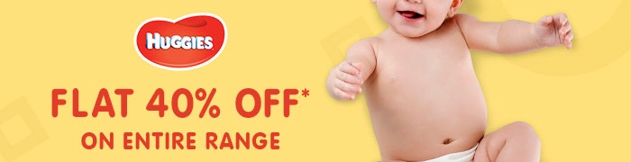 Flat 40% OFF* on Entire Huggies Range | Coupon: JL40HUG