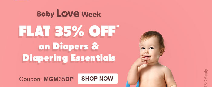 Baby Love Week - Flat 35% OFF* on Diapers & Diapering Essentials  |  Coupon: MGM35DP