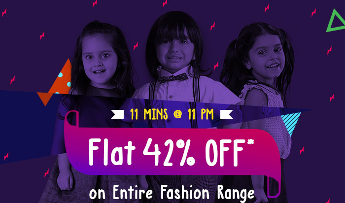 11 Mins @ 11 PM  -  Flat 42% OFF* on Entire Fashion Range  |  Coupon: FASH42JUL