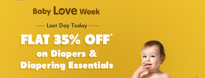 Baby Love Week - Last Day Today - Flat 35% OFF* on Diapers & Diapering Essentials