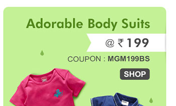 Adorable Body Suits @ Rs. 199* | Coupon - MGM199BS