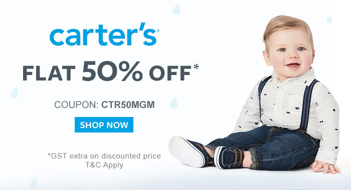 Flat 50% OFF* on Entire Carter's Range  |  Coupon: CTR50MGM