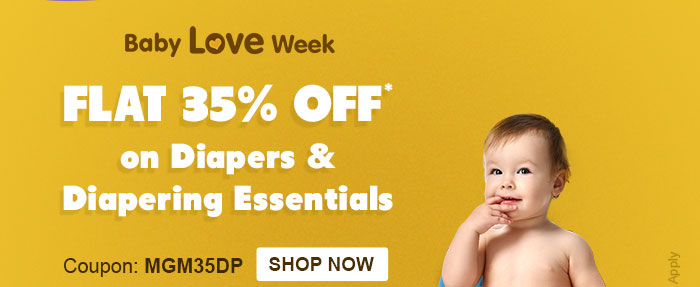 Baby Love Week - Flat 35% OFF* on Diapers & Diapering Essentials