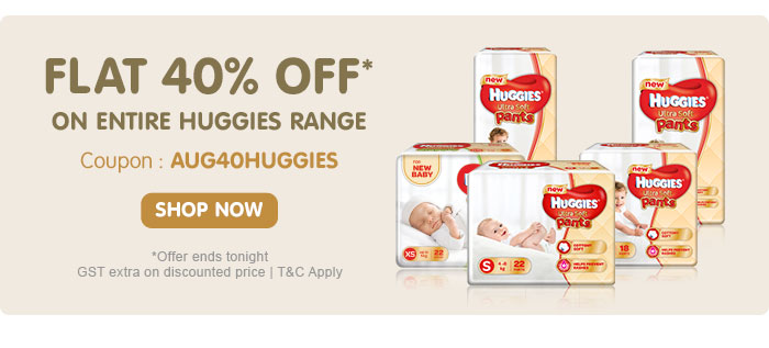 Flat 40% OFF* on Entire Huggies Range | Coupon: AUG40HUGGIES