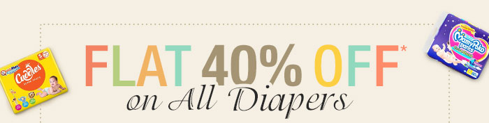 Flat 40% OFF* on All Diapers | Coupon: AGST40DIAP