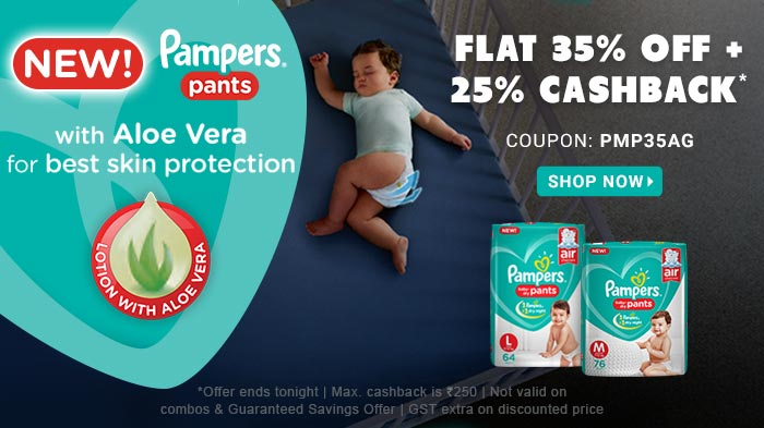 Flat 35% OFF & 25% Cashback* on Entire Pampers Range | Coupon : PMP35AG
