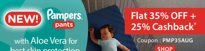Flat 35% OFF & 25% Cashback on Entire Pampers Range*