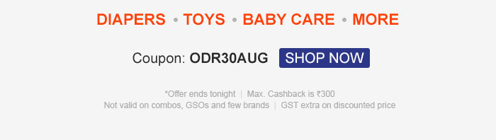 Flat 30% OFF* & 30% Cashback on Your Order | Coupon: ODR30AUG