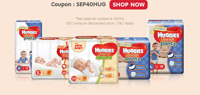 Flat 40% OFF* on Entire Huggies Range | Coupon: SEP40HUG