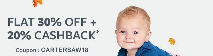 Flat 30% OFF & 20% Cashback* | Coupon: CARTERSAW18