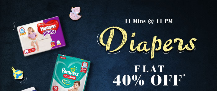 11 MINS @ 11 PM : Flat 40% OFF* on All Diapers