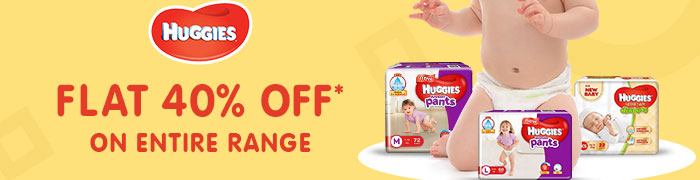 Flat 40% OFF* on Entire Huggies Range | Coupon: AUG40HUG