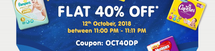 Flat 40% OFF* on All Diapers