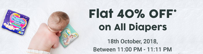 Flat 40% OFF* on All Diapers | Coupon: DPR40