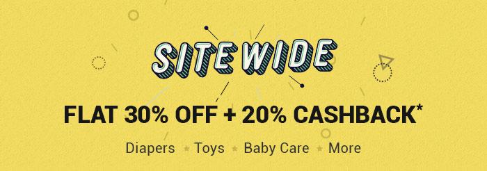 SITEWIDE-Flat 30% OFF & 20% Cashback*