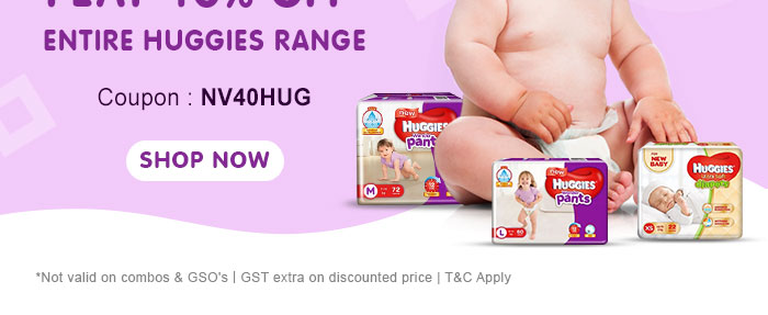 Flat 40% OFF* on Entire Huggies Range | Coupon: NV40HUG