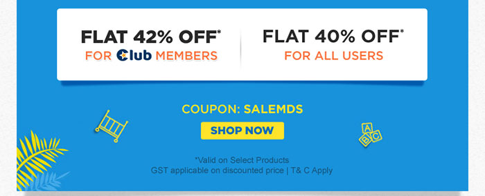 Flat 42% OFF* For Club Members Flat 40% OFF* For All Users
