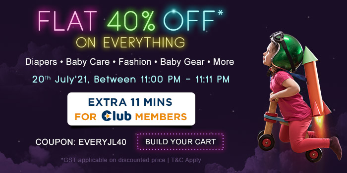 Flat 40% OFF* on Everything Extra 11 Mins For Club Members
