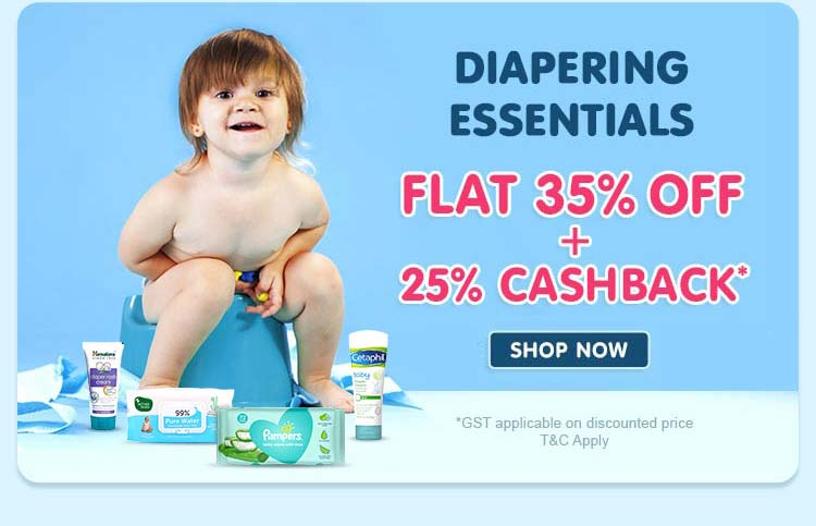 Diapering Essentials Flat 35% Off and 25% Cashback