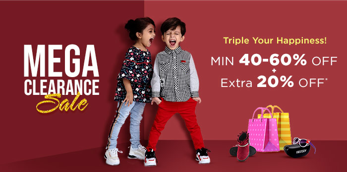 MIN 40-60% OFF+EXTRA 20% OFF ON KIDS FASHION | Mega Clearance Sale