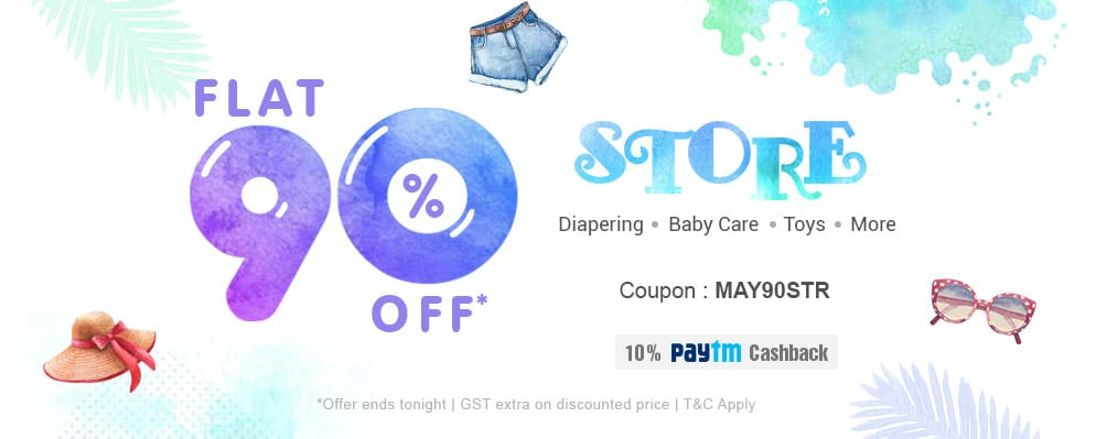 Get 90% off on Diapering, Baby Care, Toys & more