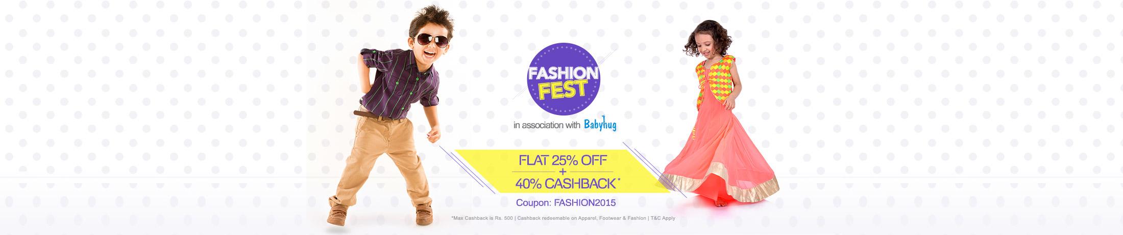 Flat 25% OFF + 40% Cashback* | Coupon: FASHION2015