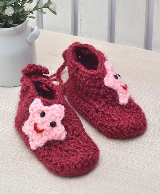 Beebop Crochet Socks Shoes Star Applique Pink 3 To 12 Months