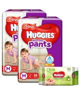 Huggies Wonder Pants Medium Size Pant Style Diapers - 56 Pieces (Pack of 2) & Huggies Nourishing Clean Baby Wipes with Cucmber & Aloe Vera - 20 Pieces
