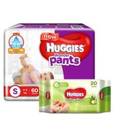 Huggies Wonder Pants Small Pant Style Diapers - 60 Pieces (Pack of 2) & Huggies Nourishing Clean Baby Wipes with Cucmber & Aloe Vera - 20 Pieces
