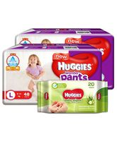 Huggies Wonder Pants Large Size Pant Style Diapers - 48 Pieces (Pack of 2) & Huggies Nourishing Clean Baby Wipes with Cucmber & Aloe Vera - 20 Pieces