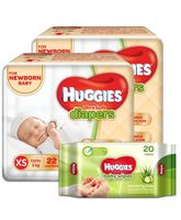 Huggies Ultra Soft Premium Diapers For New Baby- 22 Pieces (Pack of 2) & Huggies Nourishing Clean Baby Wipes with Cucmber & Aloe Vera - 20 Pieces