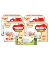 Huggies Ultra Soft Premium Diapers For New Baby- 22 Pieces (Pack of 4) & Huggies Nourishing Clean Baby Wipes with Cucmber & Aloe Vera - 72 Pieces