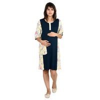 4024c23bc1 9teenAGAIN Solid And Print Patch Maternity Nighty Navy Blue Online in  India