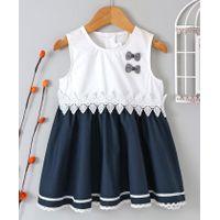 debc19c93 Buy B G Kids Bow Embellished Sleeveless Dress Blue   White for Girls ...