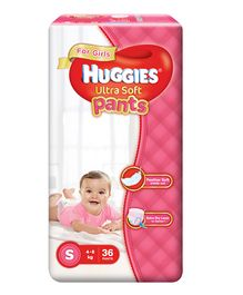 Huggies Ultra Soft Pants Small Size Premium Diapers For Girls - 36 Pieces