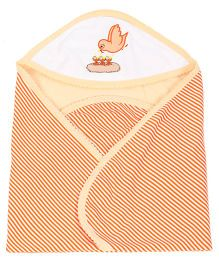 Tinycare Hooded Bath Towel Stripes Bird Embroidery - Orange