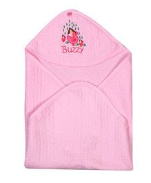 Buzzy Cotton Hooded Quilted Wrap Embroidered - Pink